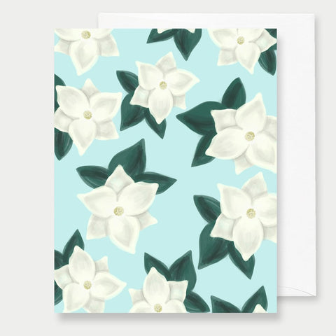 BLUE MAGNOLIAS - A2 GREETING CARD