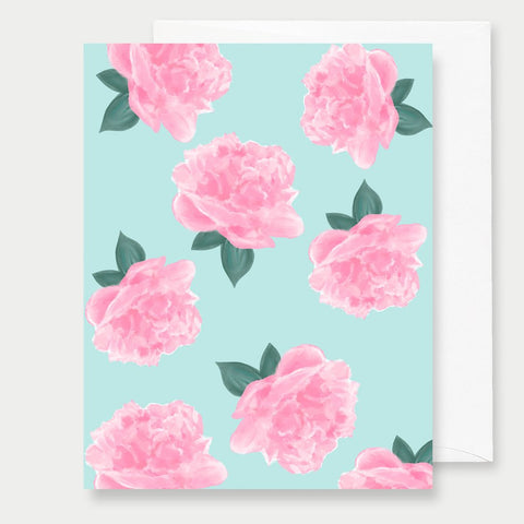 MINT PEONIES - A2 GREETING CARD