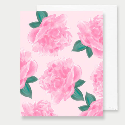 PINK PEONIES - A2 GREETING CARD
