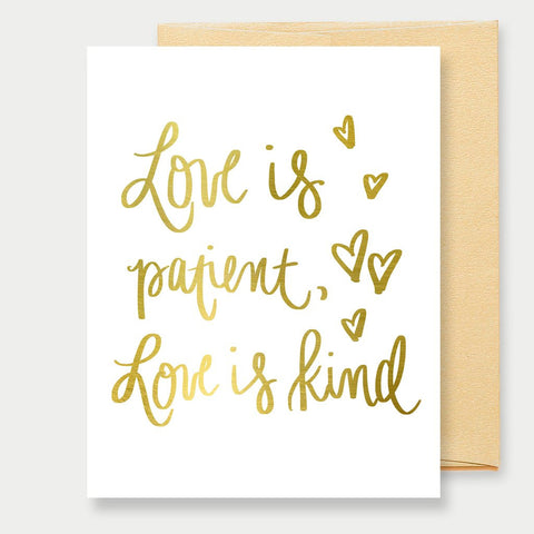 GOLD FOIL LOVE IS PATIENT - A2 GREETING CARD