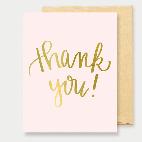 GOLD FOIL PINK THANK YOU - A2 GREETING CARD