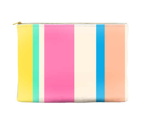MULTI COLORED STRIPED - POUCH