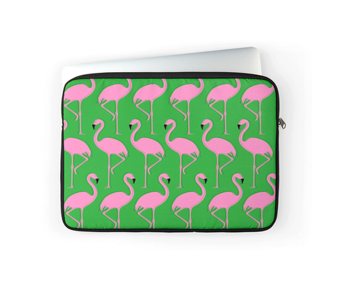 FLAMINGOS IN GREEN LAPTOP COVER