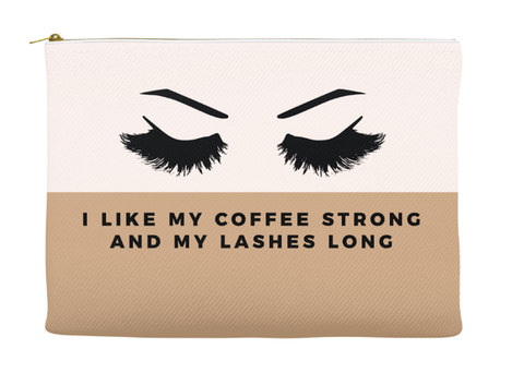 I LIKE MY COFFEE STRONG AND MY LASHES LONG - RETRO POUCH