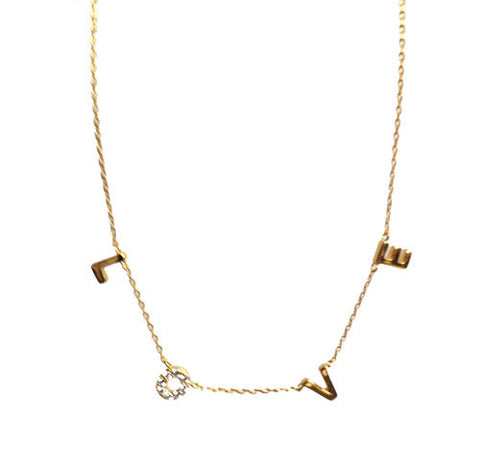 STERLING GOLD LETTER LOVE NECKLACE
