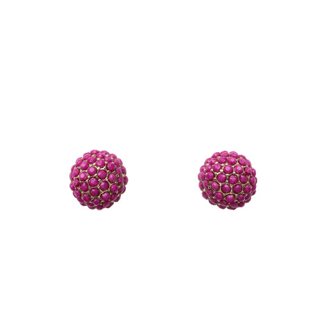 Pink Pom Stud Earrings
