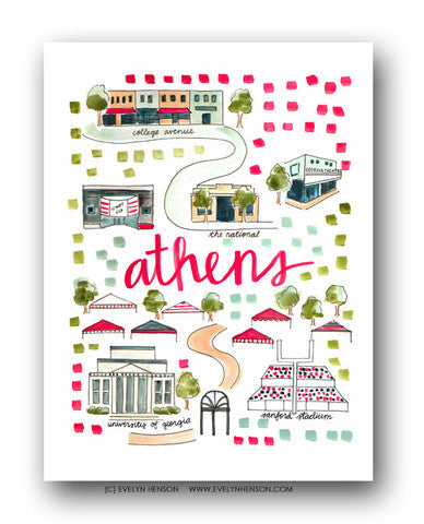 ATHENS, GA MAP ILLUSTRATION