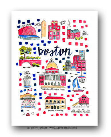 BOSTON MAP ILLUSTRATION