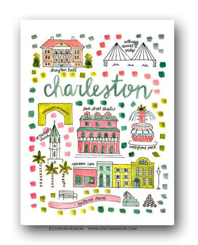 CHARLESTON, SC MAP ILLUSTRATION