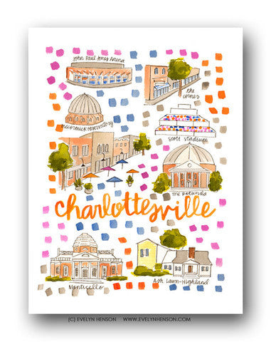 CHARLOTTESVILLE, VA MAP ILLUSTRATION
