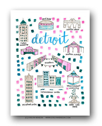 DETROIT MAP ILLUSTRATION