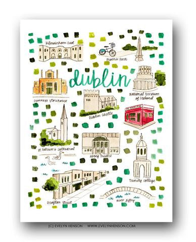 DUBLIN, IRELAND MAP ILLUSTRATION