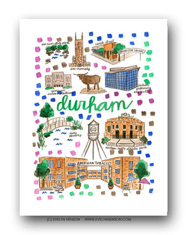 DURHAM, NC MAP ILLUSTRATION