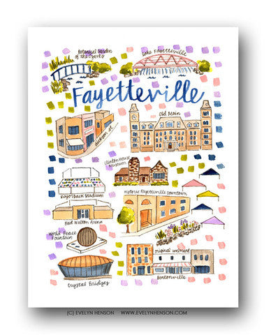 FAYETTEVILLE, AR MAP ILLUSTRATION
