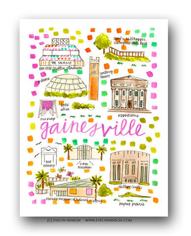 GAINESVILLE, FL MAP ILLUSTRATION