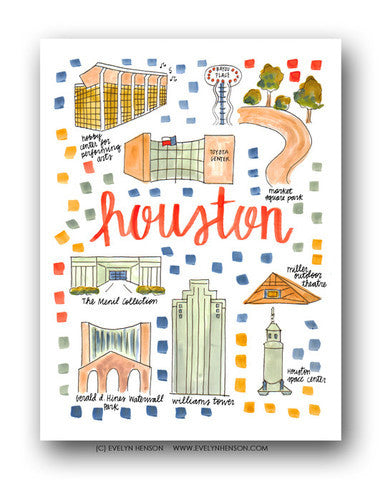 HOUSTON MAP ILLUSTRATION