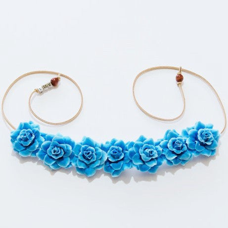 SKY BLUE ROSE FLOWER CROWN