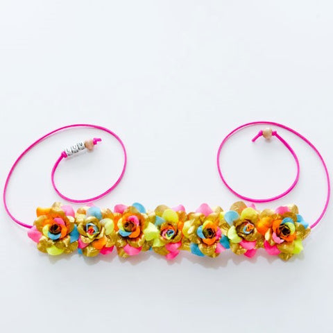 GOLD NEON RAINBOW ROSE FLOWER CROWN