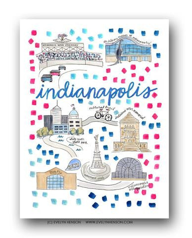 INDIANAPOLIS MAP ILLUSTRATION
