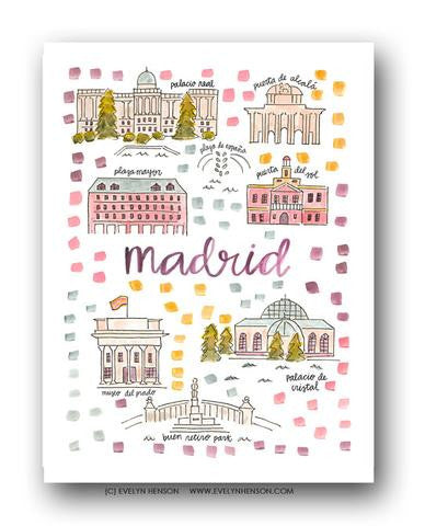 MADRID MAP ILLUSTRATION