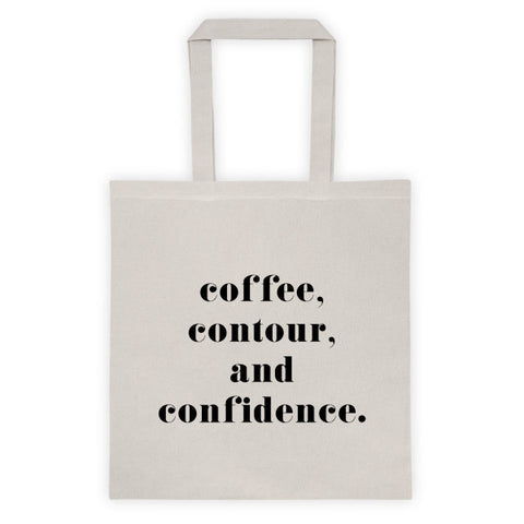 COFFEE, CONTOUR, AND CONFIDENCE TOTE BAG - NATURAL