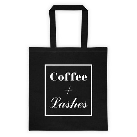 COFFEE + LASHES TOTE BAG - BLACK