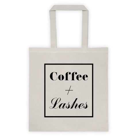 COFFEE + LASHES TOTE BAG - NATURAL