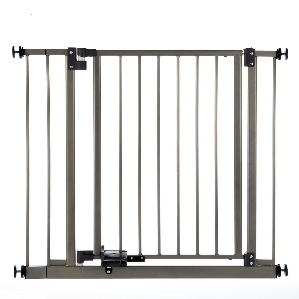 Slide-Step and Open Wall Mounted Steel Pet Gate Gray