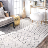 "Moroccan Area Rug, 5' x 7' 5"", Grey/Off-white"