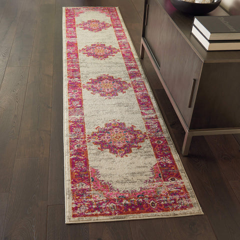 "Pink and White Vintage Area Rug 2'2"" x 10'"
