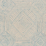 Geometric Wool Area Rug, 8 x 10 Foot, Blue, Ivory