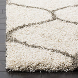 Moroccan Ogee Plush Area Rug (6' x 9')  Ivory and Grey