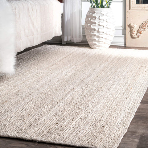 Hand Woven Jute Rug, 8' x 10', Off-white