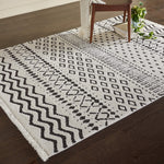 "Contemporary Geometric Area Rug, 5' 11"" x 3' 11"", Ivory, Black"