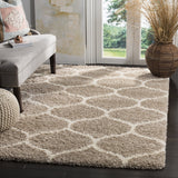 Beige and Ivory Moroccan Ogee Plush Area Rug (6' x 9')