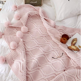 Throw Blanket with Pompom