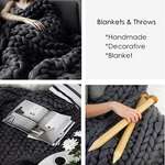 Monochrome Collection Large Chunky Knit Blanket Throw