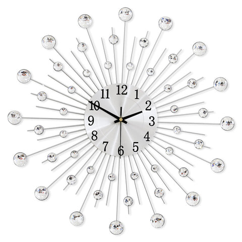 Silver Crystal Sunburst Wall Clock