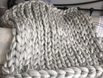 2 Colours Chunky Wool Knitted Blanket