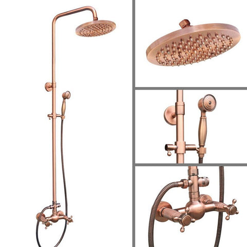 Antique Red Copper Brass Wall Mounted Bathroom Rain Shower
