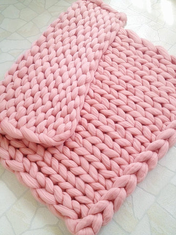 Pink Chunky Knitted Blanket