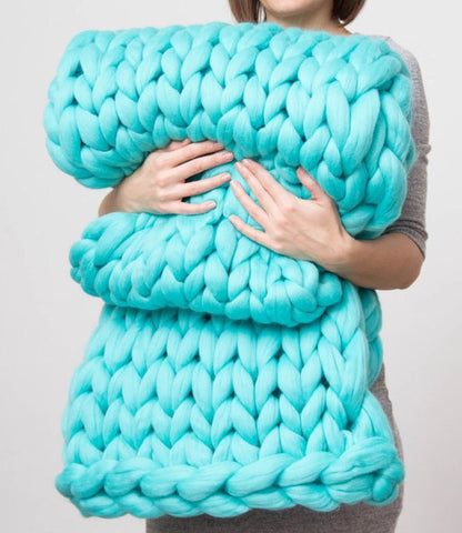 Turquoise Chunky Wool Knitted Blanket
