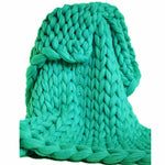 Green Chunky Knitted Blanket