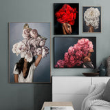 Peony Feathers Woman Abstract Poster