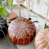 Handmade Genuine Leather Moroccan Pouf Unstuffed