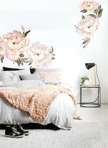 Vintage Pink Peony Flowers Wall Sticker