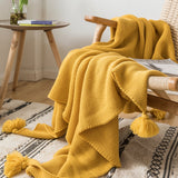 Yellow Sofa Blanket with Tassels