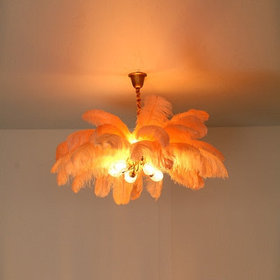 All Copper Ostrich Feather Lamp