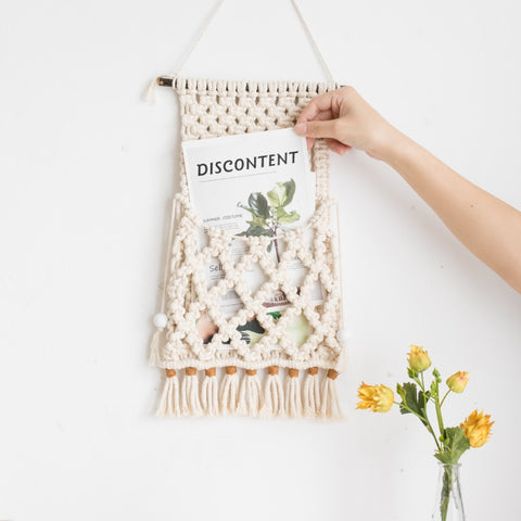 Macrame Organizer Magazine Holder