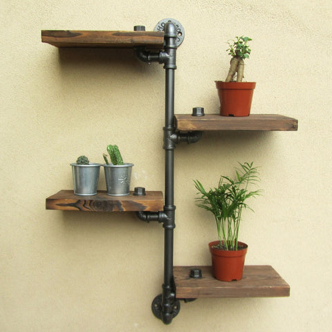 Rustic Pipe Wooden Shelf